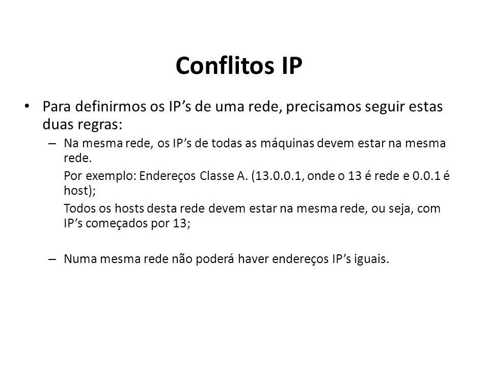 Conflitos IP Para definirmos os IP's de uma rede, precisamos seguir estas duas regras: – Na mesma rede, os IP's de todas as máquinas devem estar na me