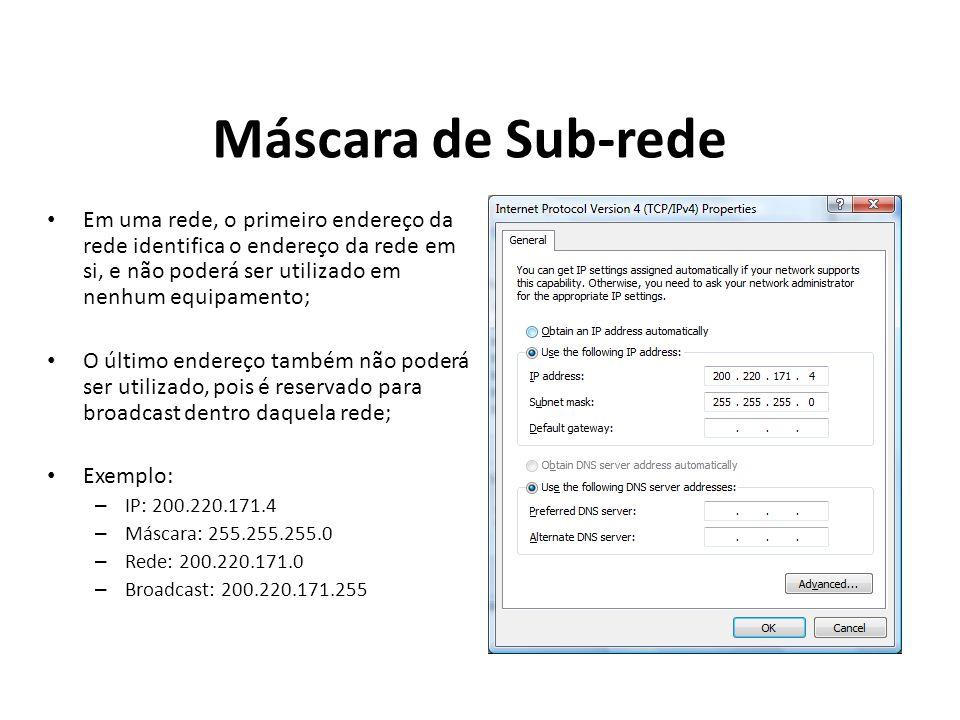 Máscara de Sub-rede Em uma rede, o primeiro endereço da rede identifica o endereço da rede em si, e não poderá ser utilizado em nenhum equipamento; O