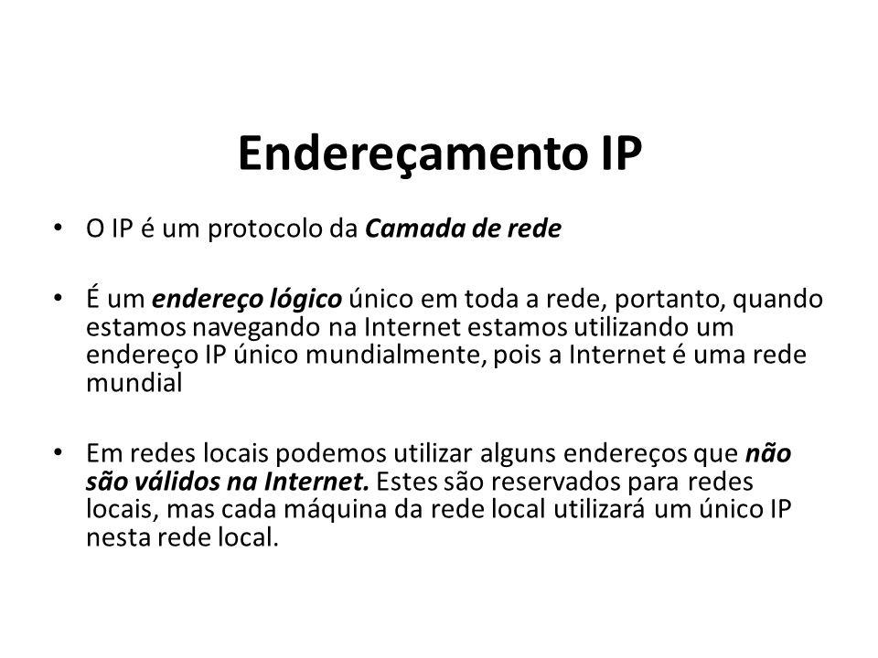 O IP é um protocolo da Camada de rede É um endereço lógico único em toda a rede, portanto, quando estamos navegando na Internet estamos utilizando um