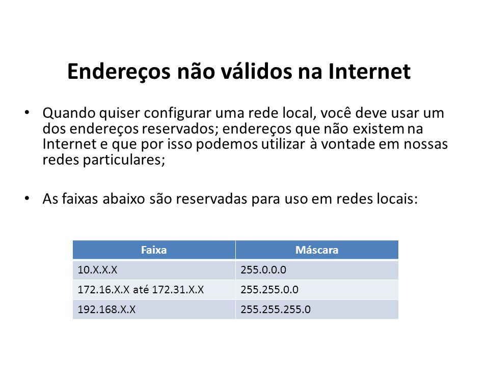 Endereços não válidos na Internet Quando quiser configurar uma rede local, você deve usar um dos endereços reservados; endereços que não existem na In