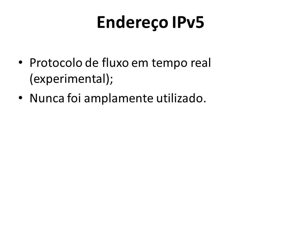 Endereço IPv5 Protocolo de fluxo em tempo real (experimental); Nunca foi amplamente utilizado.