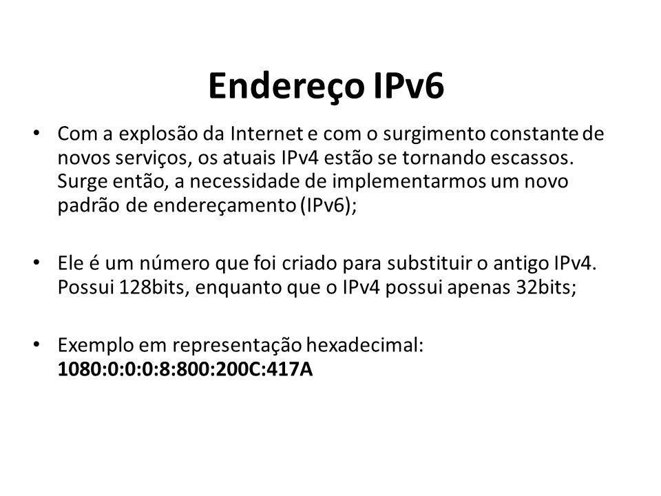Endereço IPv6 Com a explosão da Internet e com o surgimento constante de novos serviços, os atuais IPv4 estão se tornando escassos. Surge então, a nec