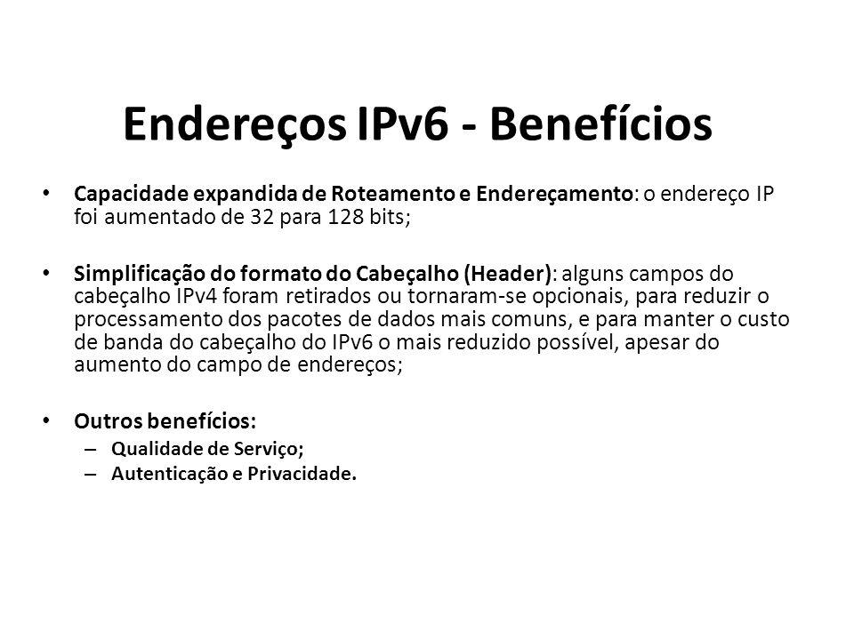 Endereços IPv6 - Benefícios Capacidade expandida de Roteamento e Endereçamento: o endereço IP foi aumentado de 32 para 128 bits; Simplificação do form