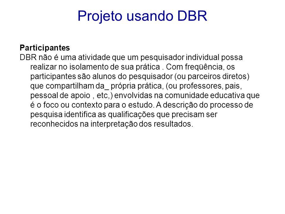 Participantes DBR não é uma atividade que um pesquisador individual possa realizar no isolamento de sua prática.