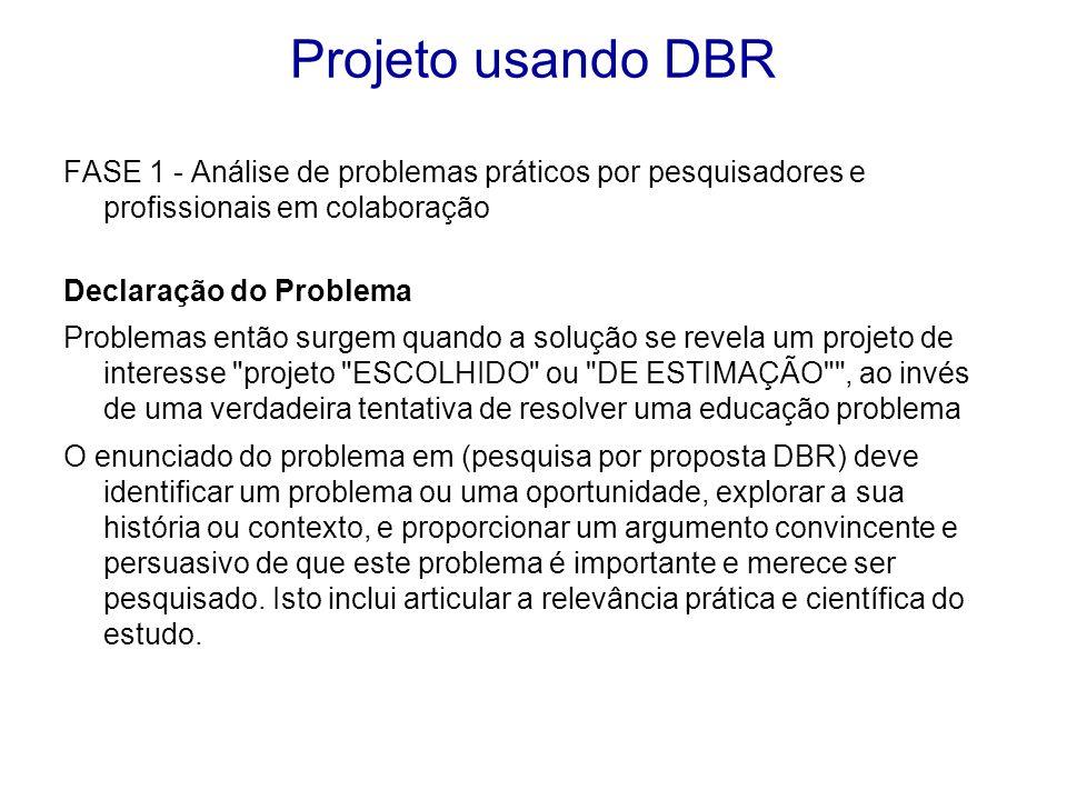 FASE 1 - Análise de problemas práticos por pesquisadores e profissionais em colaboração Declaração do Problema Problemas então surgem quando a solução