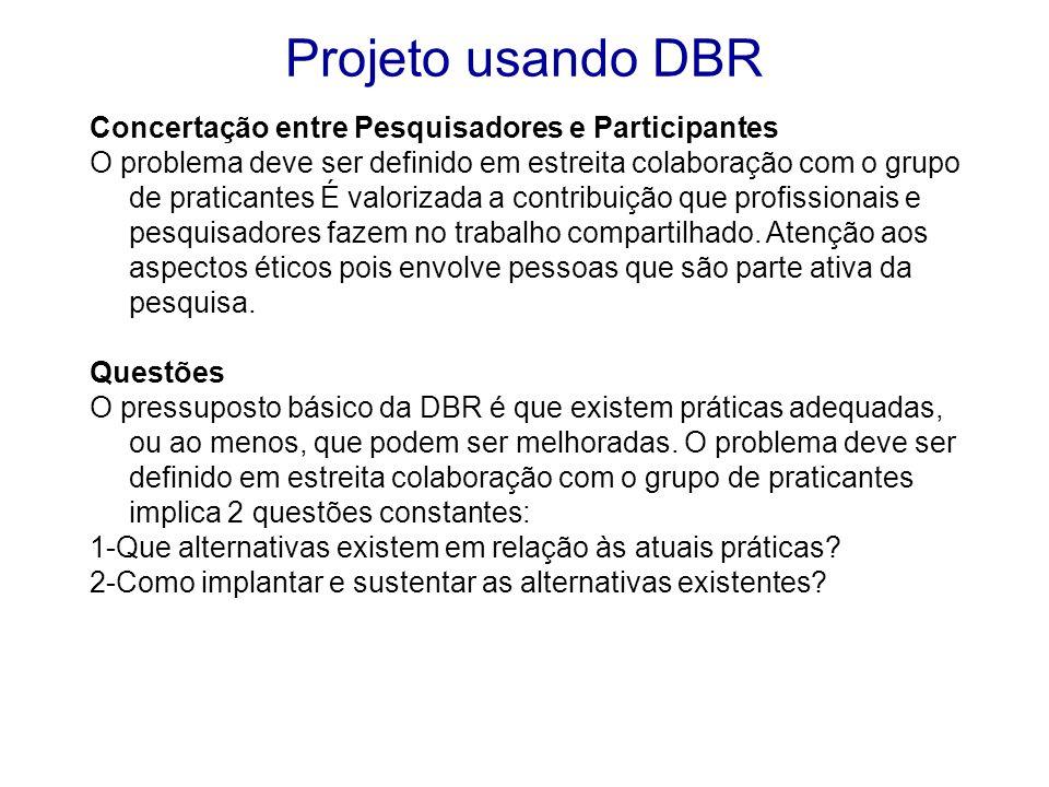 Os pressupostos e questões da DBR são derivados a partir da definição do problema de pesquisa, em estreita colaboração com as opiniões dos profissionais e outros participantes legítimos.