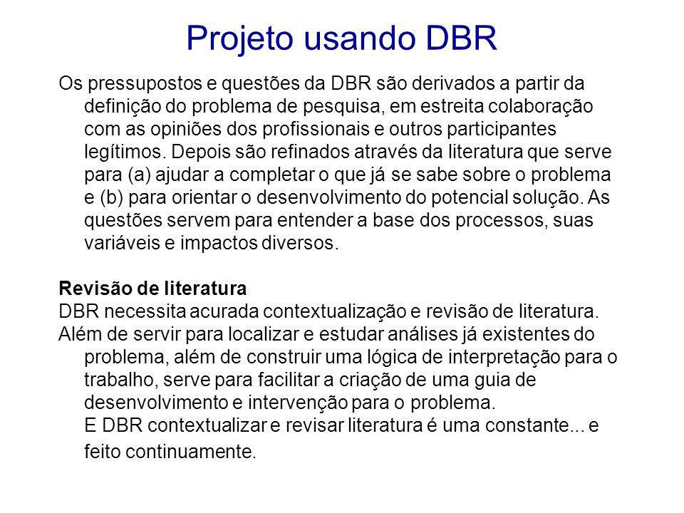 Os pressupostos e questões da DBR são derivados a partir da definição do problema de pesquisa, em estreita colaboração com as opiniões dos profissiona