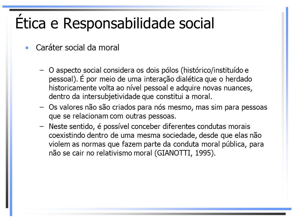 Caráter social da moral –O aspecto social considera os dois pólos (histórico/instituído e pessoal). É por meio de uma interação dialética que o herdad
