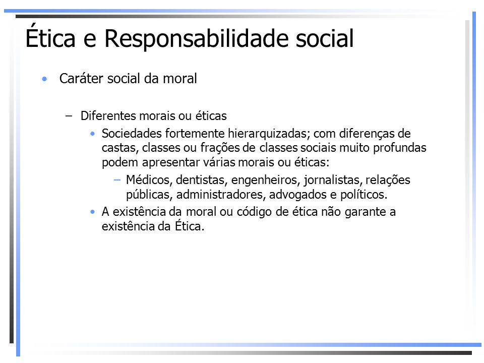 Caráter social da moral –Diferentes morais ou éticas Sociedades fortemente hierarquizadas; com diferenças de castas, classes ou frações de classes soc