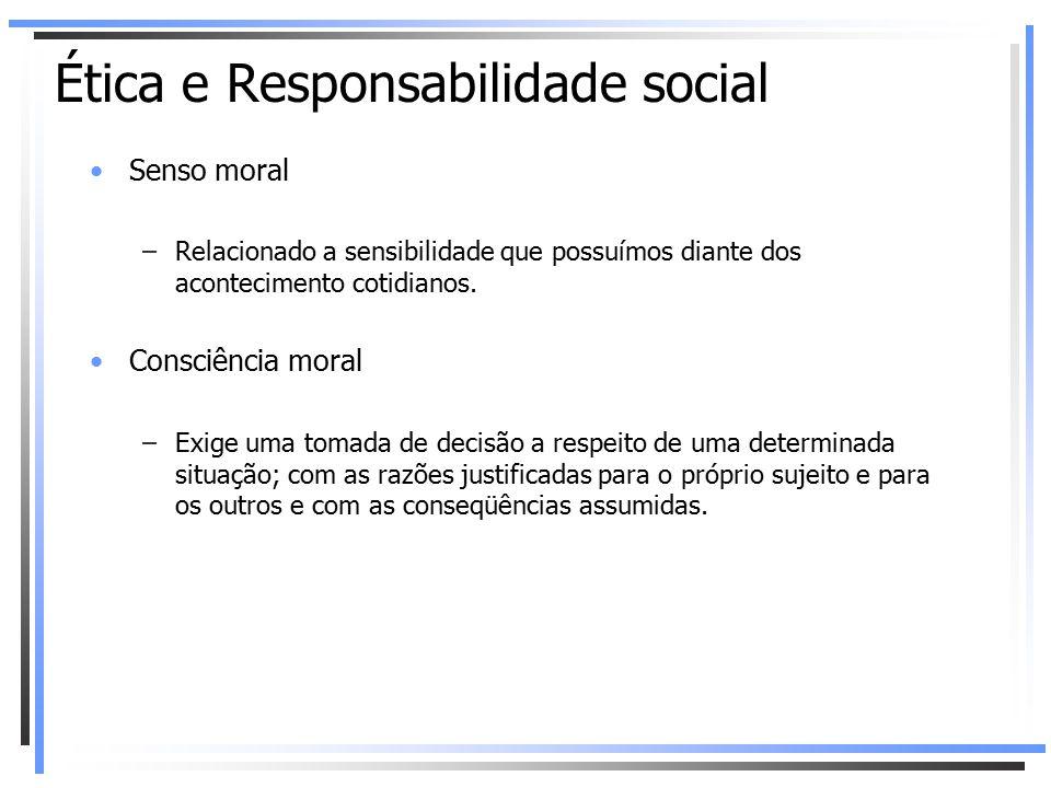 Senso moral –Relacionado a sensibilidade que possuímos diante dos acontecimento cotidianos. Consciência moral –Exige uma tomada de decisão a respeito