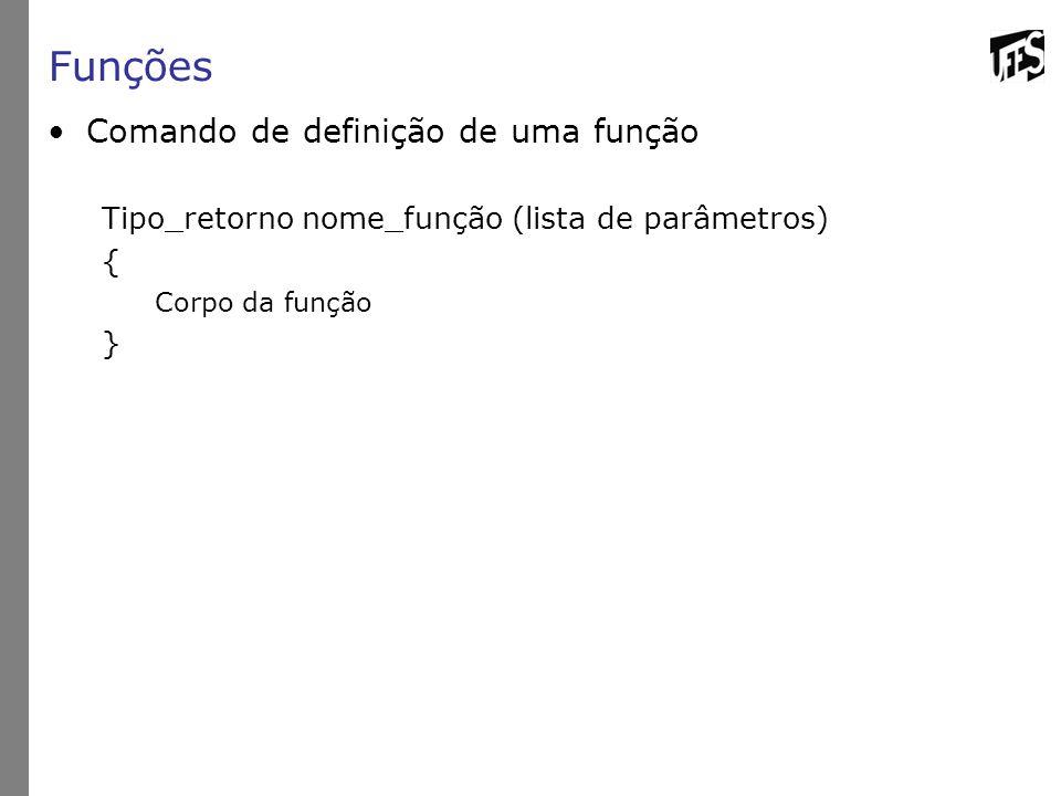 Funções Comando de definição de uma função Tipo_retorno nome_função (lista de parâmetros) { Corpo da função }