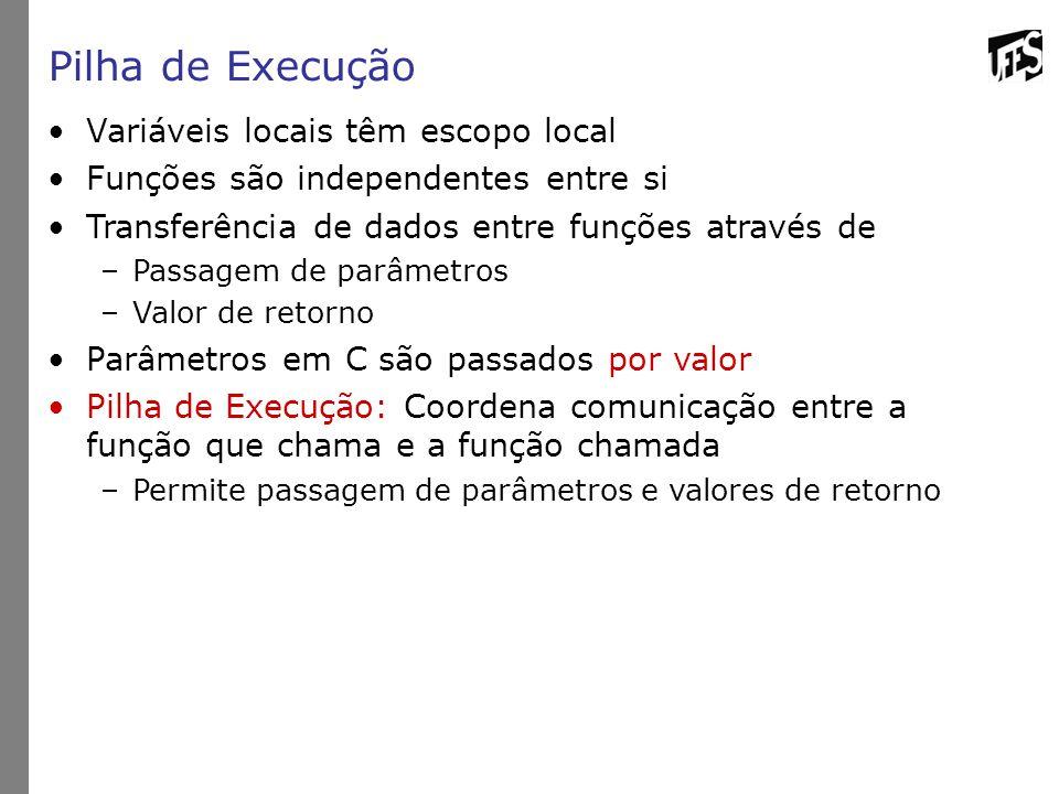 Pilha de Execução Variáveis locais têm escopo local Funções são independentes entre si Transferência de dados entre funções através de –Passagem de pa