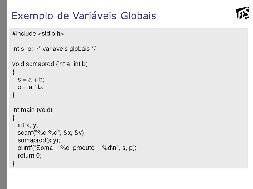 Exemplo de Variáveis Globais