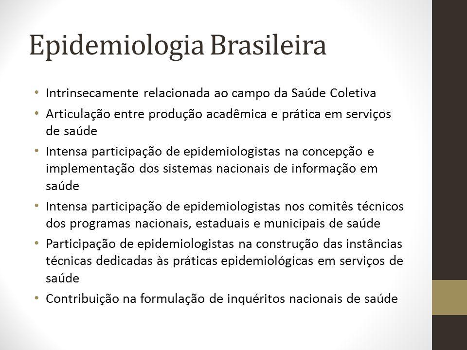 Epidemiologia Brasileira Intrinsecamente relacionada ao campo da Saúde Coletiva Articulação entre produção acadêmica e prática em serviços de saúde In
