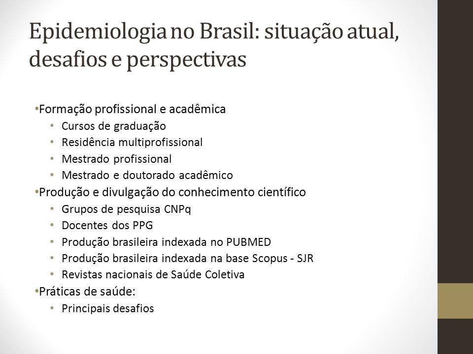 Epidemiologia no Brasil: situação atual, desafios e perspectivas Formação profissional e acadêmica Cursos de graduação Residência multiprofissional Me