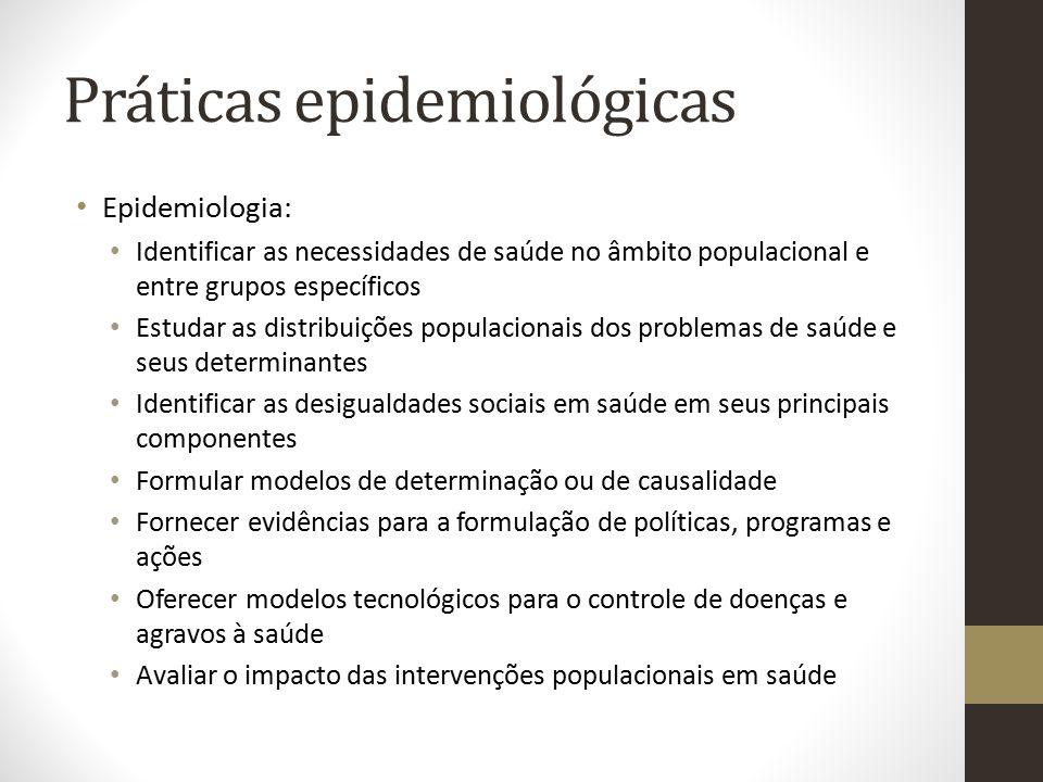 Práticas epidemiológicas Epidemiologia: Identificar as necessidades de saúde no âmbito populacional e entre grupos específicos Estudar as distribuiçõe