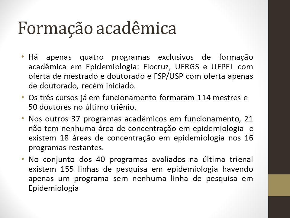 Formação acadêmica Há apenas quatro programas exclusivos de formação acadêmica em Epidemiologia: Fiocruz, UFRGS e UFPEL com oferta de mestrado e douto