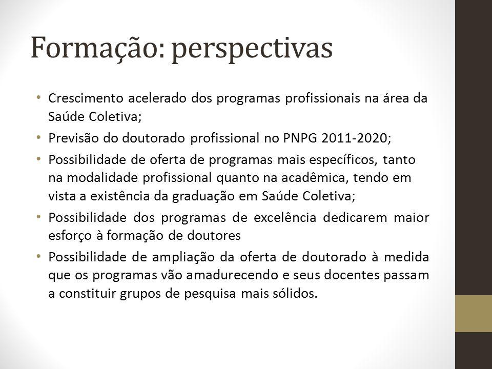 Formação: perspectivas Crescimento acelerado dos programas profissionais na área da Saúde Coletiva; Previsão do doutorado profissional no PNPG 2011-20
