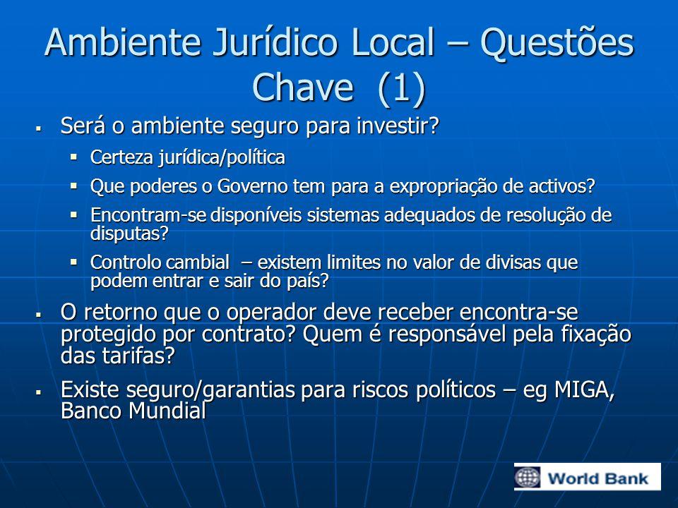 Ambiente Jurídico Local – Questões Chave (1)  Será o ambiente seguro para investir.