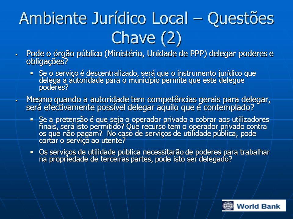 Ambiente Jurídico Local – Questões Chave (2)  Pode o órgão público (Ministério, Unidade de PPP) delegar poderes e obligações.
