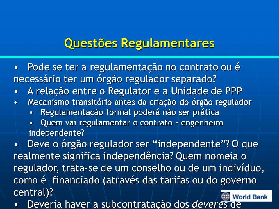 Questões Regulamentares Pode se ter a regulamentação no contrato ou é necessário ter um órgão regulador separado.
