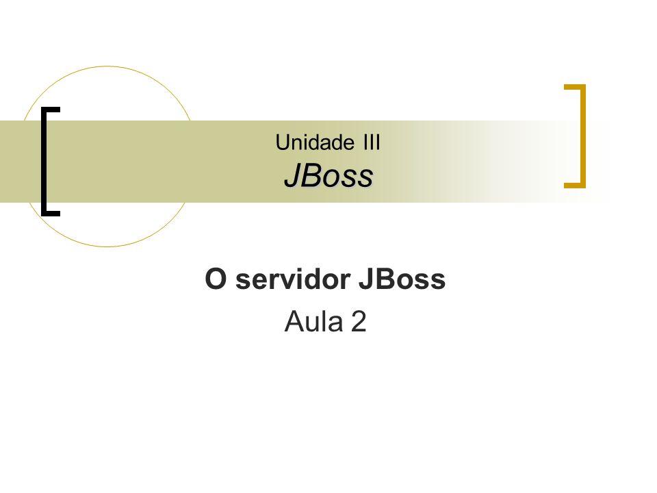 JBoss Unidade III JBoss O servidor JBoss Aula 2
