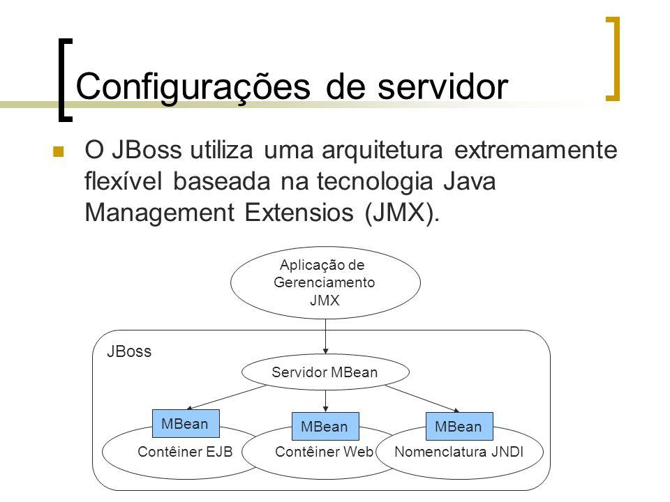 Configurações de servidor O JBoss utiliza uma arquitetura extremamente flexível baseada na tecnologia Java Management Extensios (JMX).