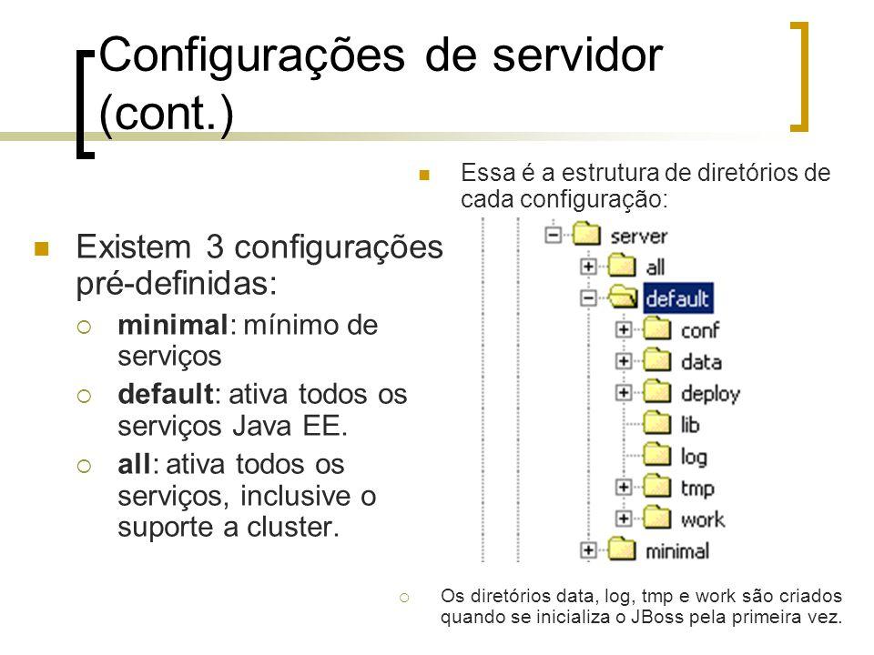 Configurações de servidor (cont.) Existem 3 configurações pré-definidas:  minimal: mínimo de serviços  default: ativa todos os serviços Java EE.