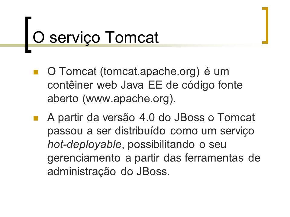 O serviço Tomcat O Tomcat (tomcat.apache.org) é um contêiner web Java EE de código fonte aberto (www.apache.org).