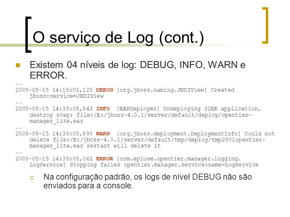 O serviço de Log (cont.) Existem 04 níveis de log: DEBUG, INFO, WARN e ERROR....
