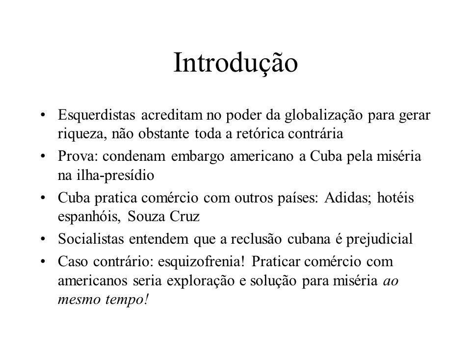 Introdução Esquerdistas acreditam no poder da globalização para gerar riqueza, não obstante toda a retórica contrária Prova: condenam embargo american