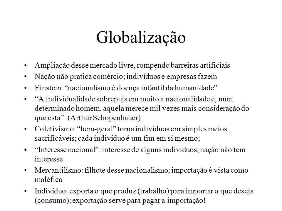 """Globalização Ampliação desse mercado livre, rompendo barreiras artificiais Nação não pratica comércio; indivíduos e empresas fazem Einstein: """"nacional"""