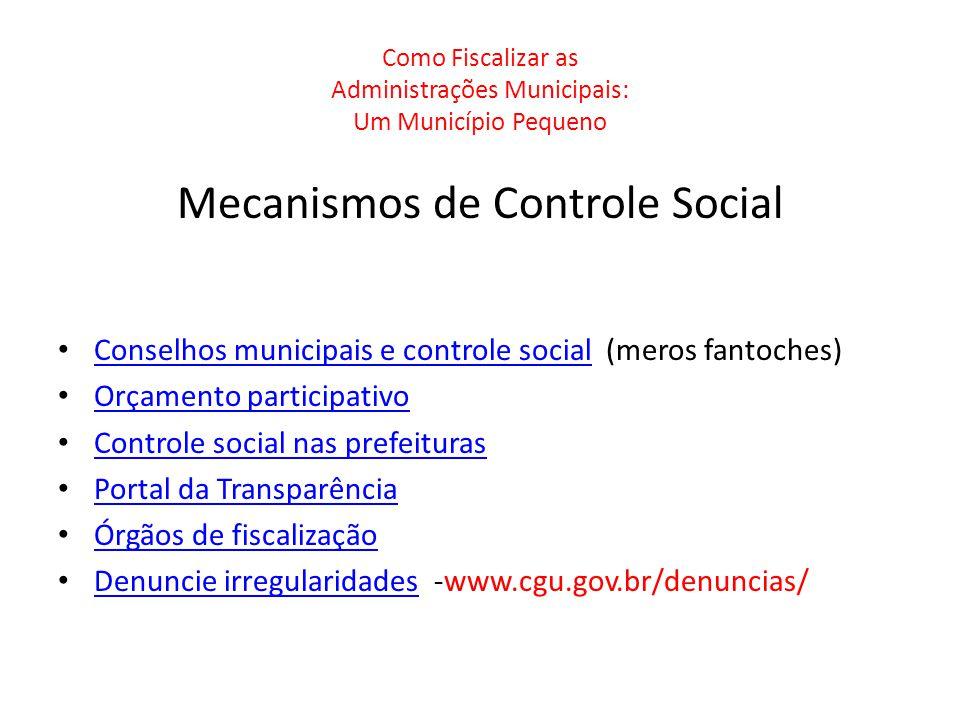 Como Fiscalizar as Administrações Municipais: Um Município Pequeno Mecanismos de Controle Social Conselhos municipais e controle social (meros fantoch