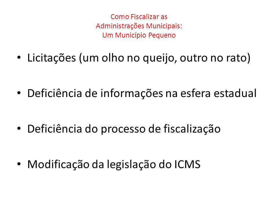 Como Fiscalizar as Administrações Municipais: Um Município Pequeno Licitações (um olho no queijo, outro no rato) Deficiência de informações na esfera