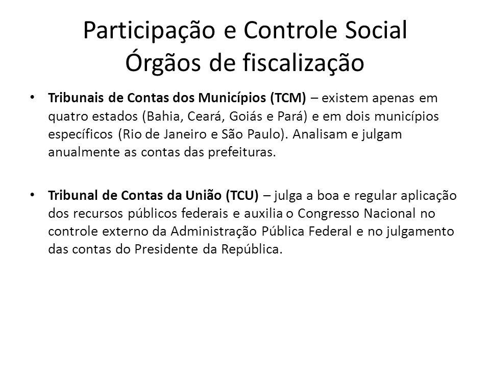 Participação e Controle Social Órgãos de fiscalização Tribunais de Contas dos Municípios (TCM) – existem apenas em quatro estados (Bahia, Ceará, Goiás