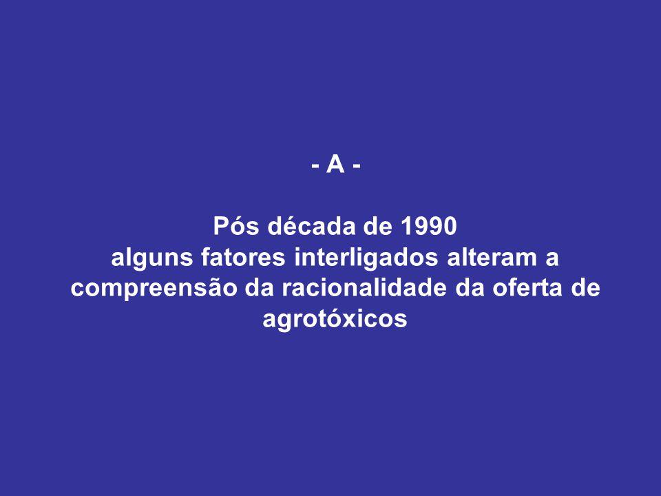 Produção de OGMs Concessão de patentes de invenções e de modelo de utilidade (Lei 9.279/1996) Lei de Cultivares (Lei 9.456/1997) Patentes permitem controlar propriedades 'positivas' e 'negativas' de novas variedades Grupos industriais: posse de uma carteira de direitos de propriedade intelectual + produção das moléculas Biotecnologia nas mãos de empresas que controlam 4 áreas: sementes, agroquímicos, farmacêutica e veterinária; Nova concepção de agrotóxico: a quimiotoxidade e a biotoxidade Plantas produtoras de moléculas: diversifica fontes de fornecimento