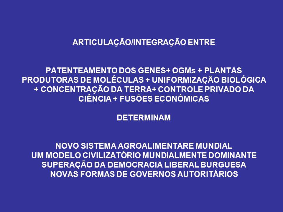 ARTICULAÇÃO/INTEGRAÇÃO ENTRE PATENTEAMENTO DOS GENES+ OGMs + PLANTAS PRODUTORAS DE MOLÉCULAS + UNIFORMIZAÇÃO BIOLÓGICA + CONCENTRAÇÃO DA TERRA+ CONTRO