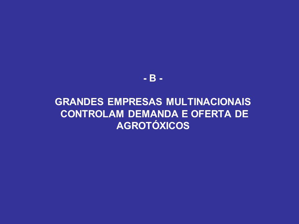 - B - GRANDES EMPRESAS MULTINACIONAIS CONTROLAM DEMANDA E OFERTA DE AGROTÓXICOS