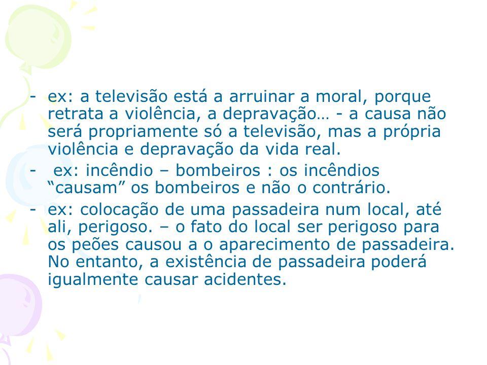 -ex: a televisão está a arruinar a moral, porque retrata a violência, a depravação… - a causa não será propriamente só a televisão, mas a própria viol