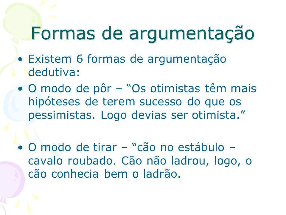 """Formas de argumentação Existem 6 formas de argumentação dedutiva: O modo de pôr – """"Os otimistas têm mais hipóteses de terem sucesso do que os pessimis"""