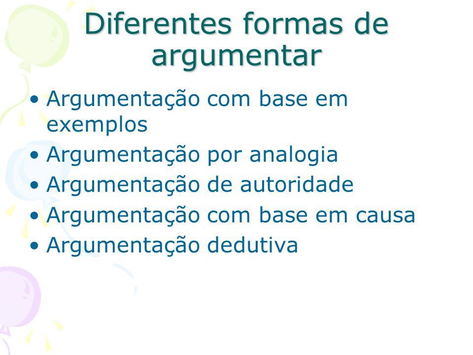 Diferentes formas de argumentar Argumentação com base em exemplos Argumentação por analogia Argumentação de autoridade Argumentação com base em causa