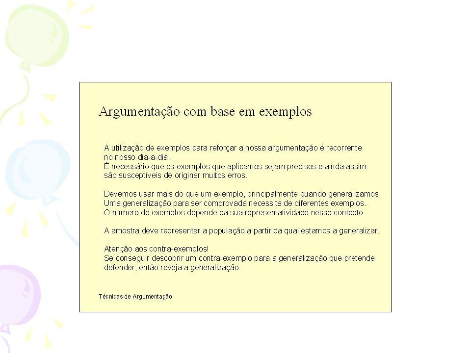 É comum utilizarmos exemplos no nosso dia-a-dia para fundamentar a nossa argumentação.
