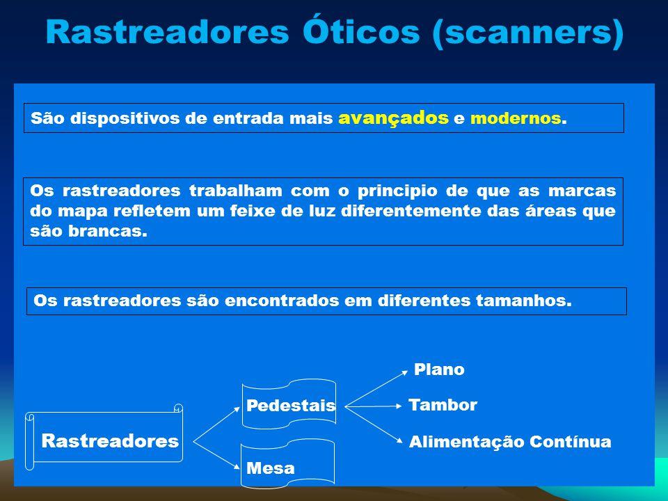 Rastreadores Óticos (scanners) São dispositivos de entrada mais avançados e modernos. Os rastreadores trabalham com o principio de que as marcas do ma