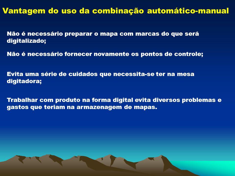 Vantagem do uso da combinação automático-manual Não é necessário preparar o mapa com marcas do que será digitalizado; Não é necessário fornecer novame