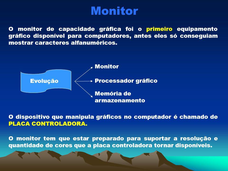 Monitor O monitor de capacidade gráfica foi o primeiro equipamento gráfico disponível para computadores, antes eles só conseguiam mostrar caracteres a