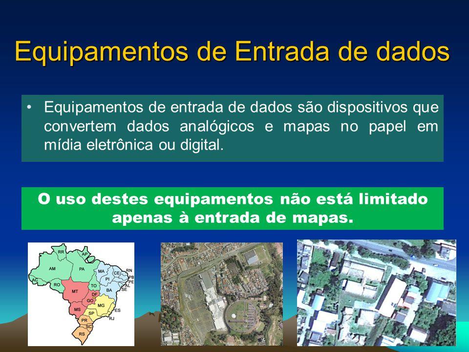 Equipamentos de Entrada de dados Equipamentos de entrada de dados são dispositivos que convertem dados analógicos e mapas no papel em mídia eletrônica ou digital.