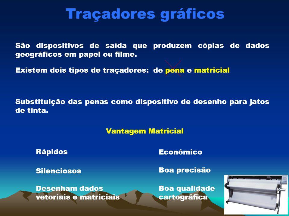 Traçadores gráficos São dispositivos de saída que produzem cópias de dados geográficos em papel ou filme.