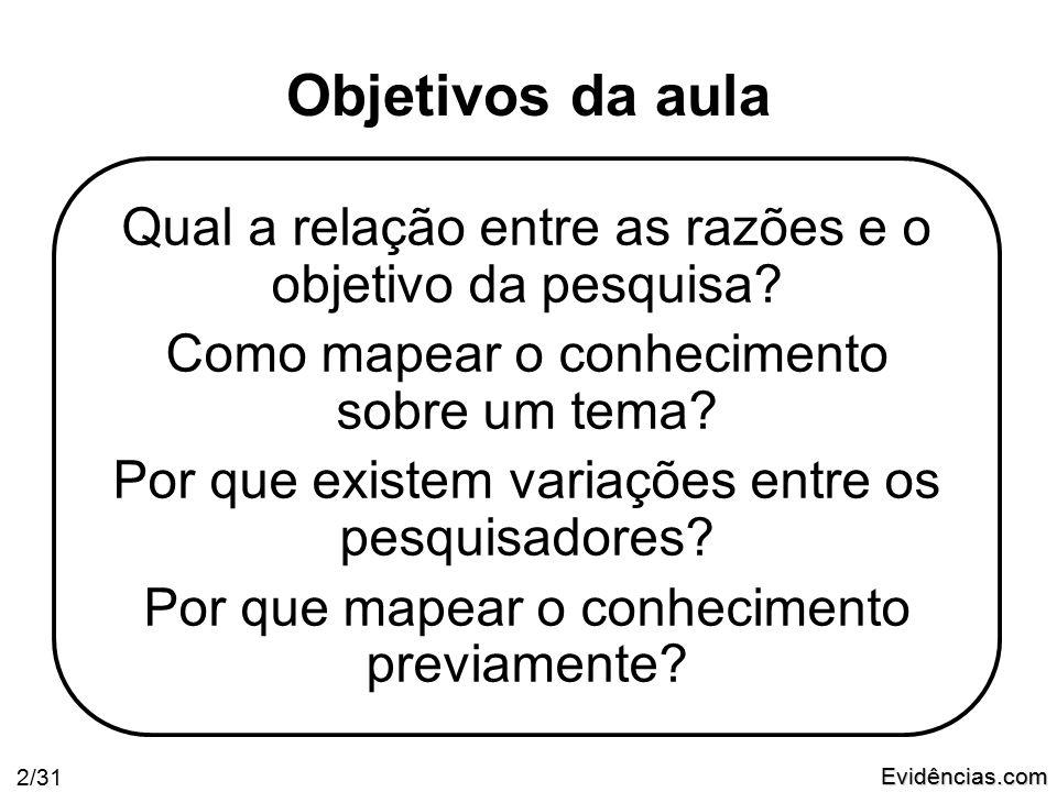 Evidências.com 13/31 1 - Formulação da Pergunta