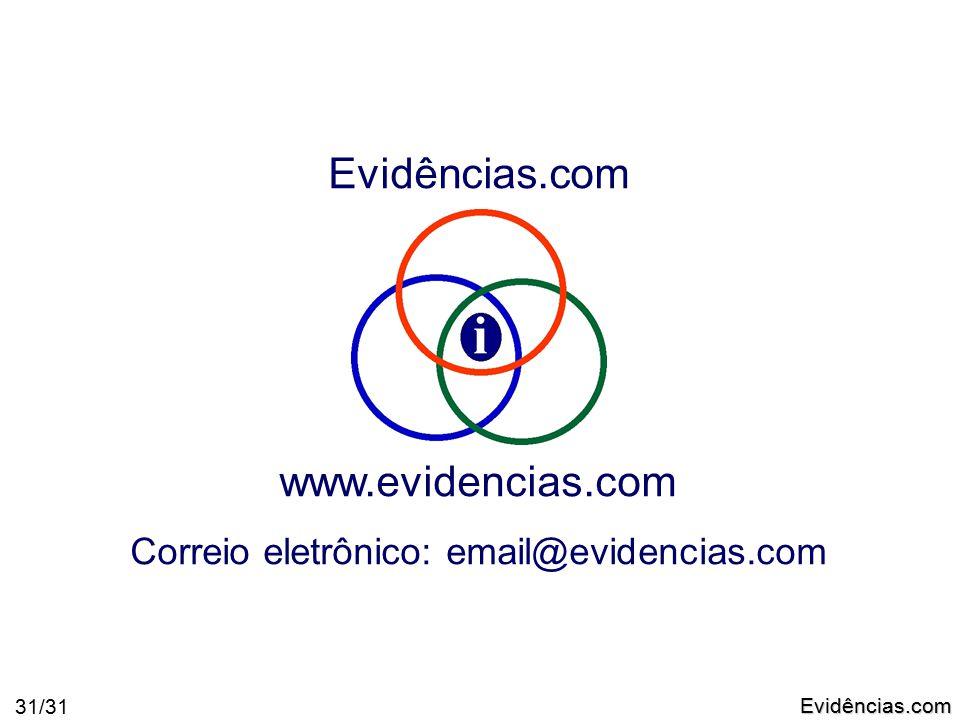 Evidências.com 31/31 Evidências.com www.evidencias.com Correio eletrônico: email@evidencias.com