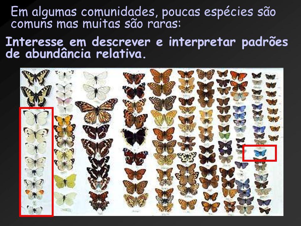 Em algumas comunidades, poucas espécies são comuns mas muitas são raras: Interesse em descrever e interpretar padrões de abundância relativa.